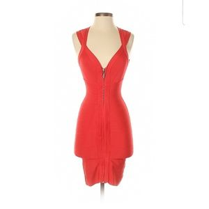 Bebe Coral Orange Bandage Zip Front Bodycon Dress